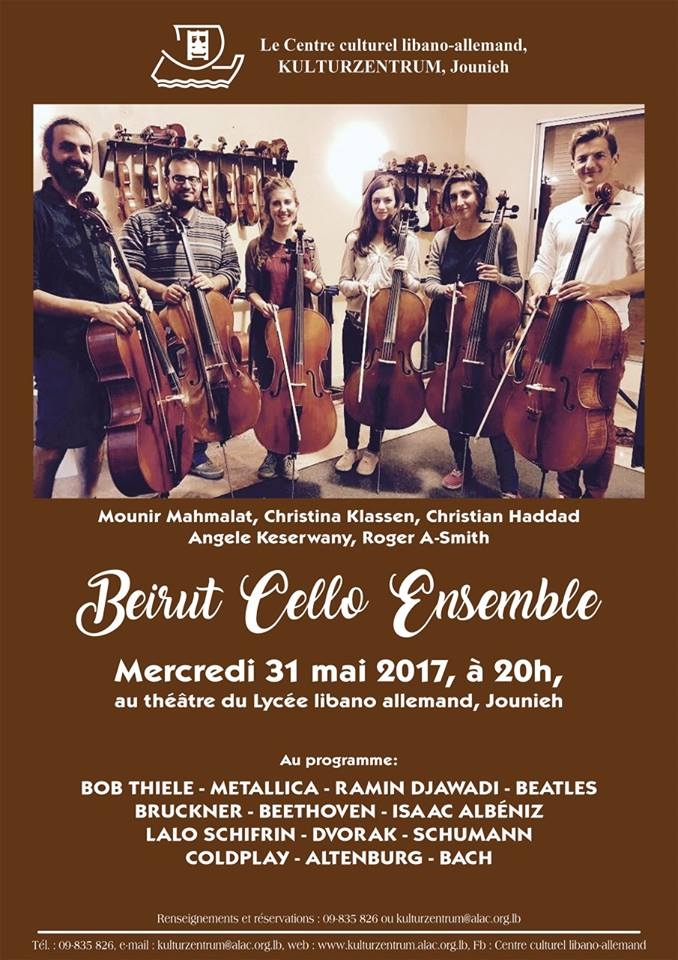 Beirut Cello Ensemble, Concert 31st May at Kulturzentrum Jounyeh