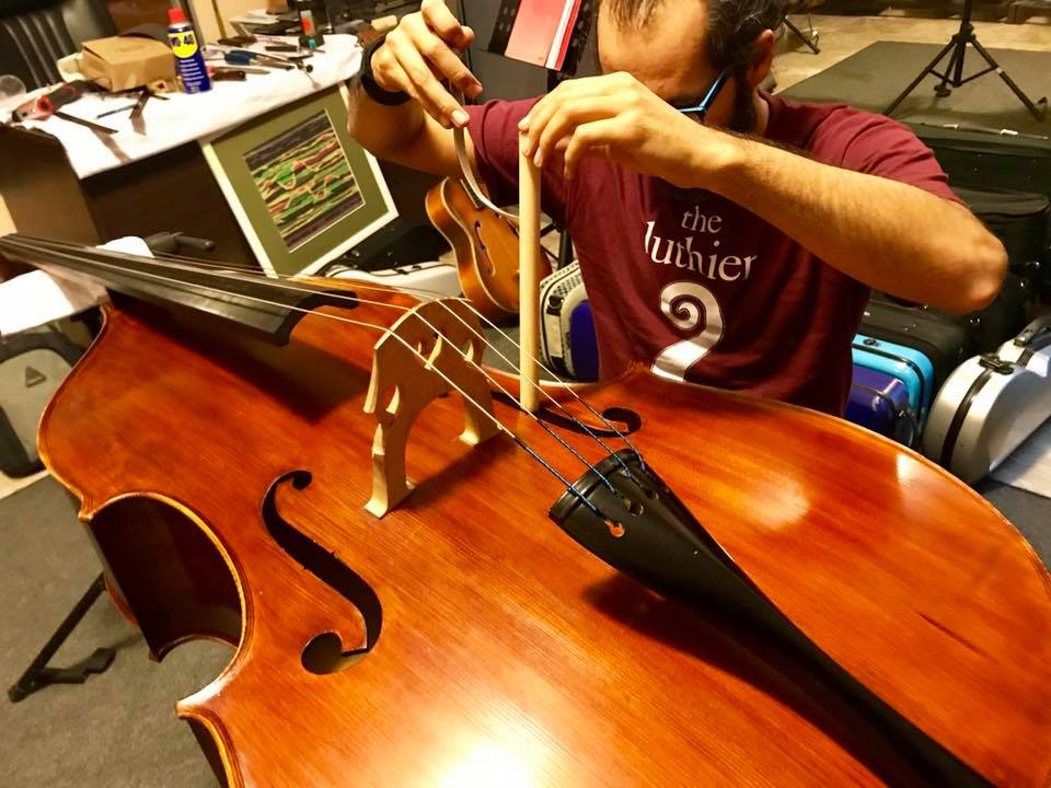 Double Bass soundpost setup by jack