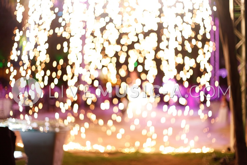 Pyro fire works during a wedding