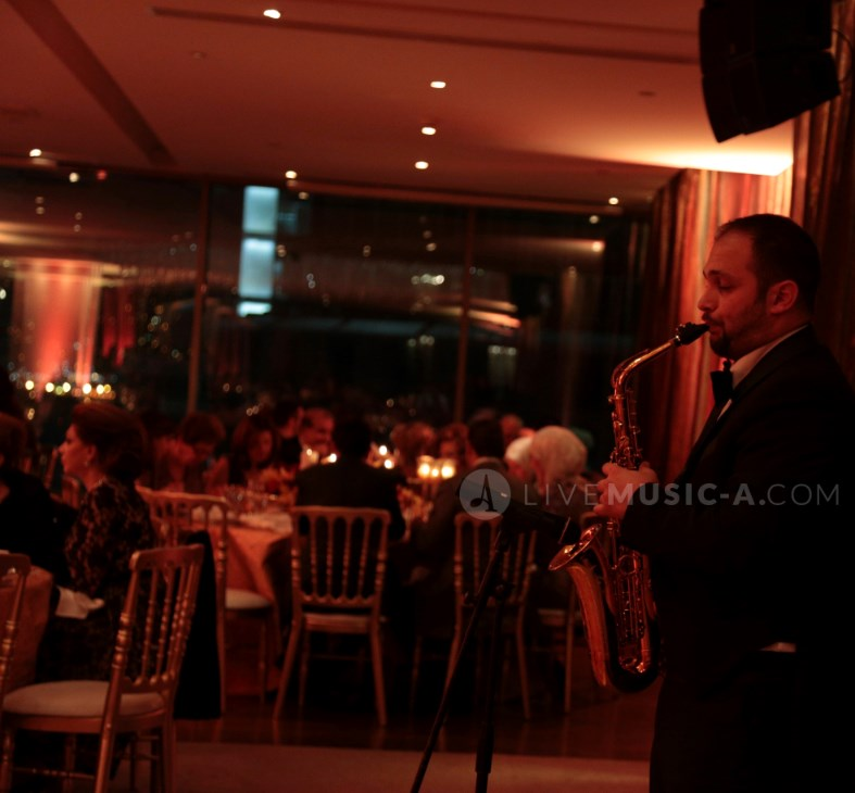 Joe on Saxophone at a royal engagement Phoenicia restaurant beirut