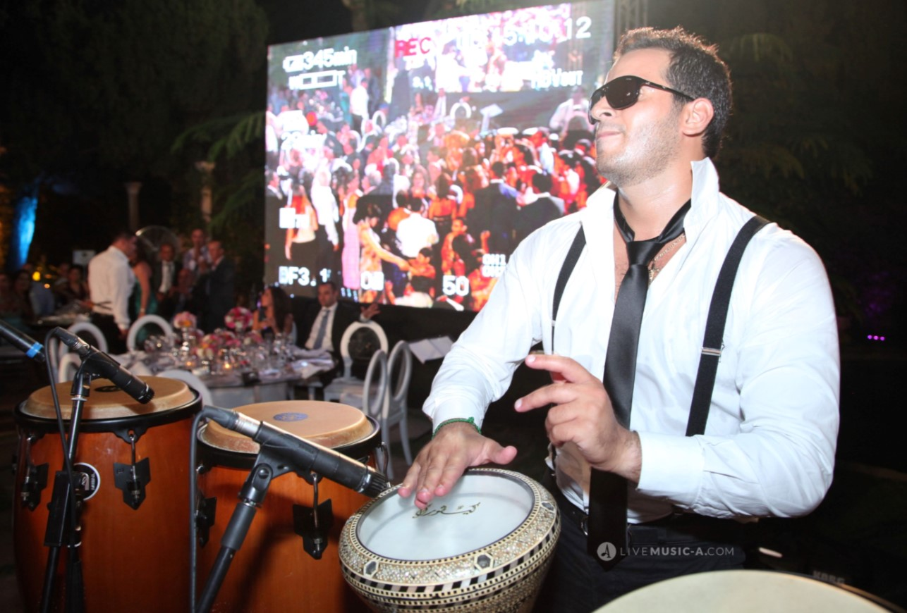 Heating up the mood at Sursock palace Beirut with Joe on Tabla and percussions