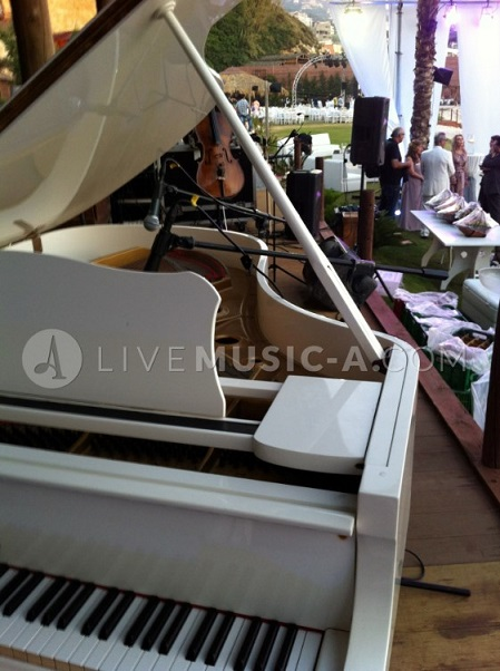 No music no sound no musicians no life. white piano, white tuxedos, all white. Music-A