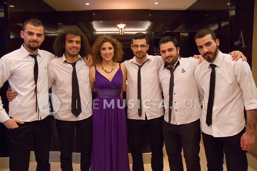 Singer Lindsay and the band at Azurea Royal hotel beirut