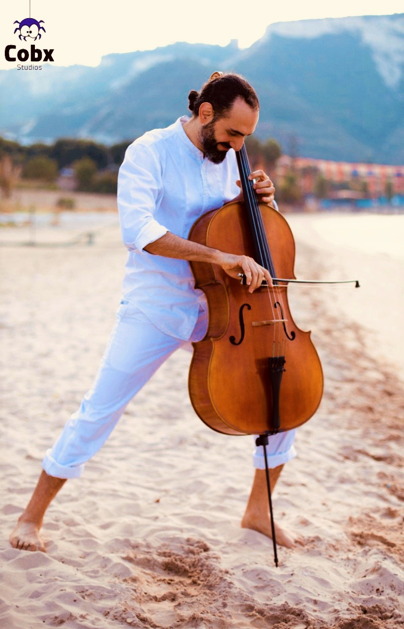 Cello during a photoshoot at the beach.