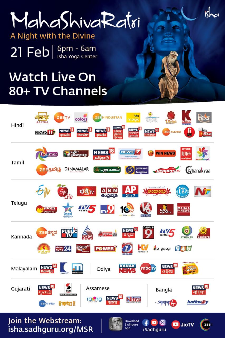 Mahashivaratri 2020 broadcasted to 80+ Channel in india and more abroad.