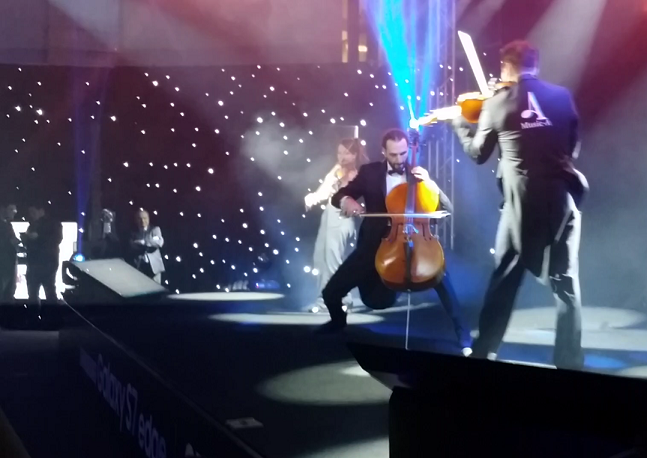 Allegro Violin Show performance unveiling the Galaxy